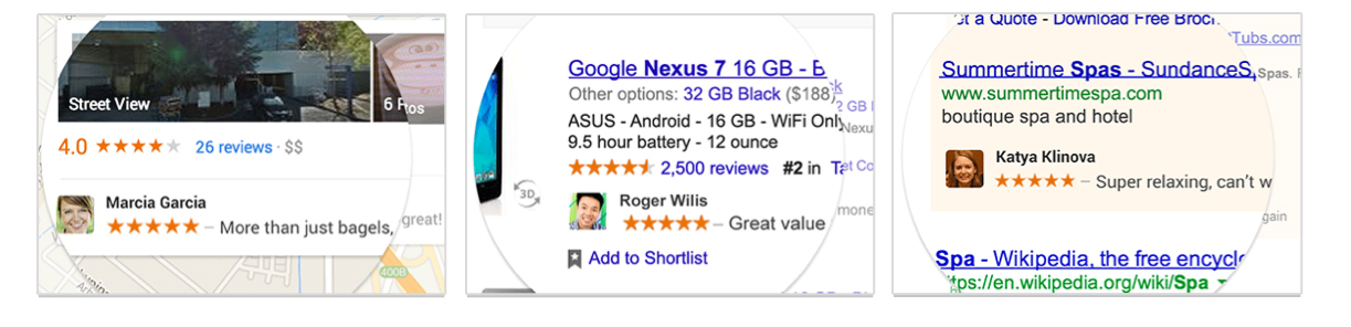 Three examples of Google Shared Endorsements