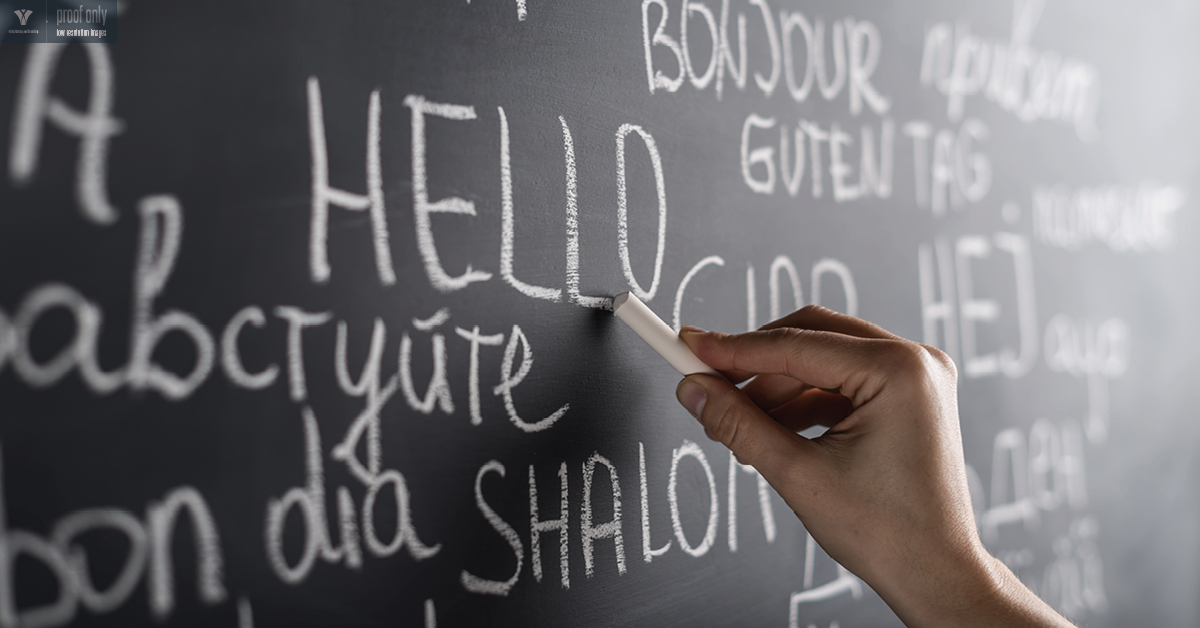 Writing on a chalkboard in different languages