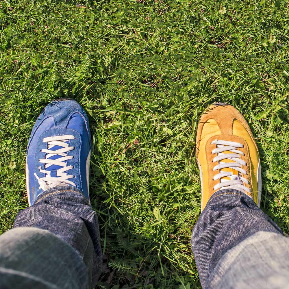Blue and Yellow Colored Shoes