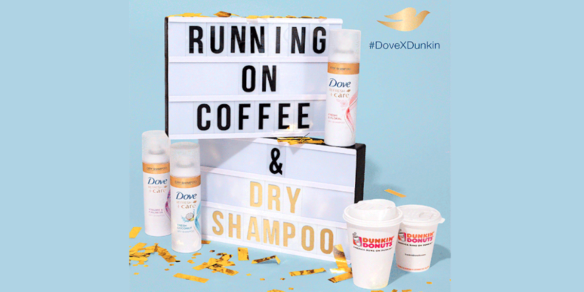 dunkin' donuts and dove shampoo partnership