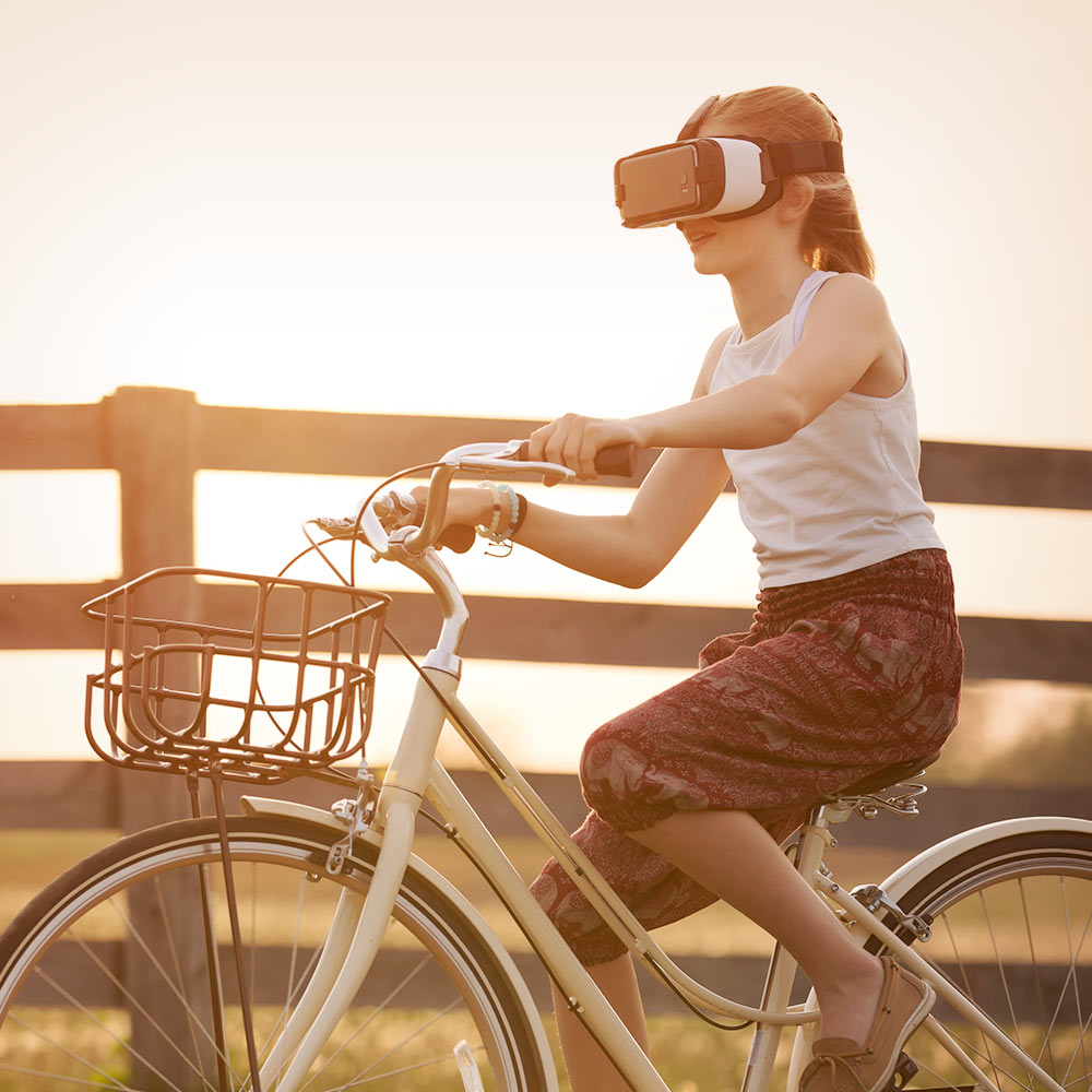 Riding a bike with a VR Virtual Reality headset