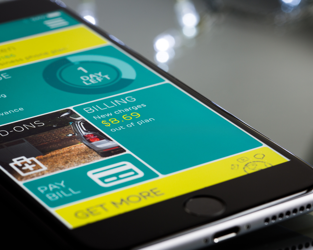 Smartphone with a financial mobile app open