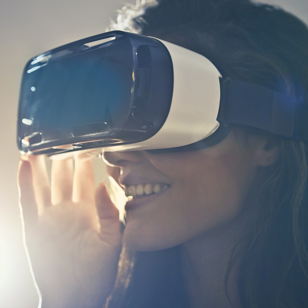 Woman wearing Virtual Reality goggles